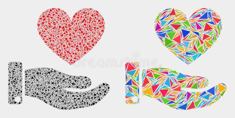 Διανυσματικό εικονίδιο μωσαϊκών χεριών δωρεάς καρδιών των στοιχείων τριγώνων ελεύθερη απεικόνιση δικαιώματος