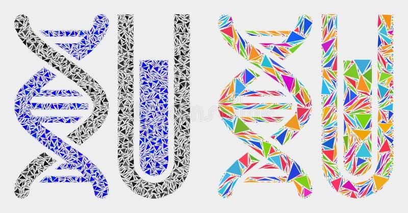 Διανυσματικό εικονίδιο μωσαϊκών DNA Testtube των στοιχείων τριγώνων ελεύθερη απεικόνιση δικαιώματος