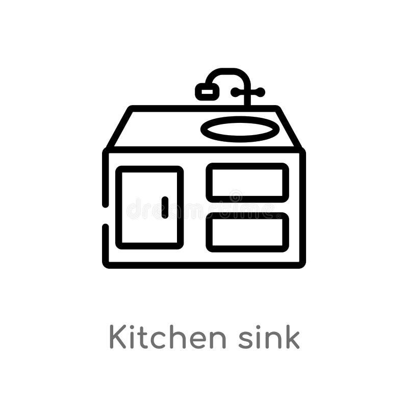 διανυσματικό εικονίδιο νεροχυτών κουζινών περιλήψεων απομονωμένη μαύρη απλή απεικόνιση στοιχείων γραμμών από την έννοια επίπλων r διανυσματική απεικόνιση