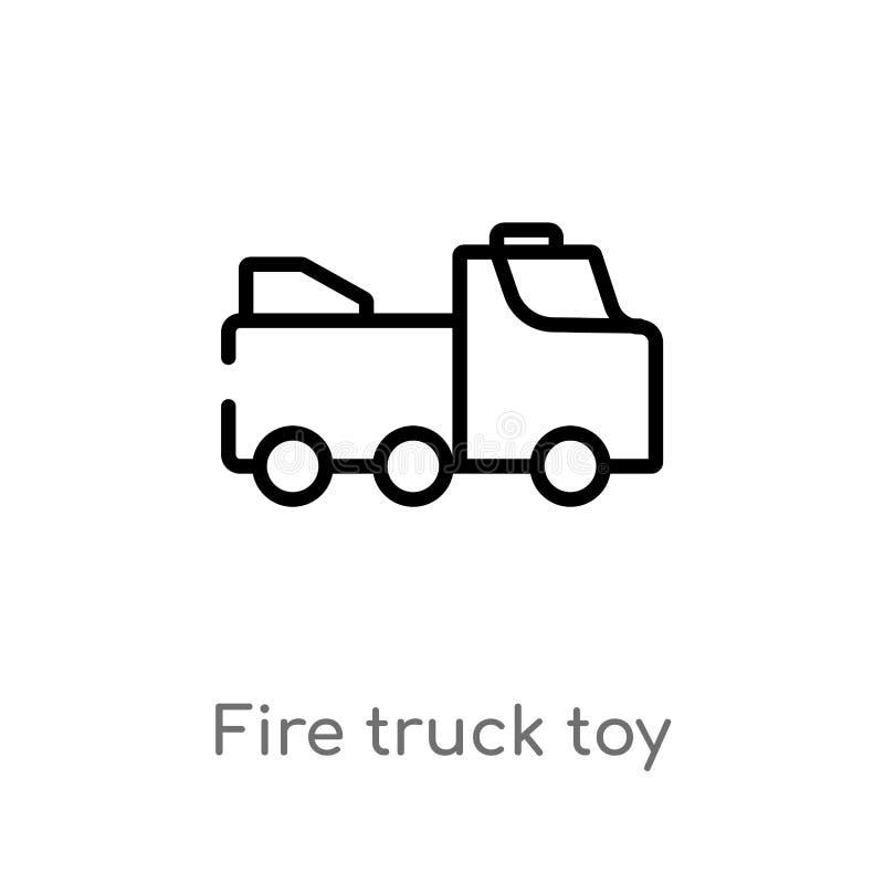 διανυσματικό εικονίδιο παιχνιδιών πυροσβεστικών οχημάτων περιλήψεων απομονωμένη μαύρη απλή απεικόνιση στοιχείων γραμμών από την έ διανυσματική απεικόνιση