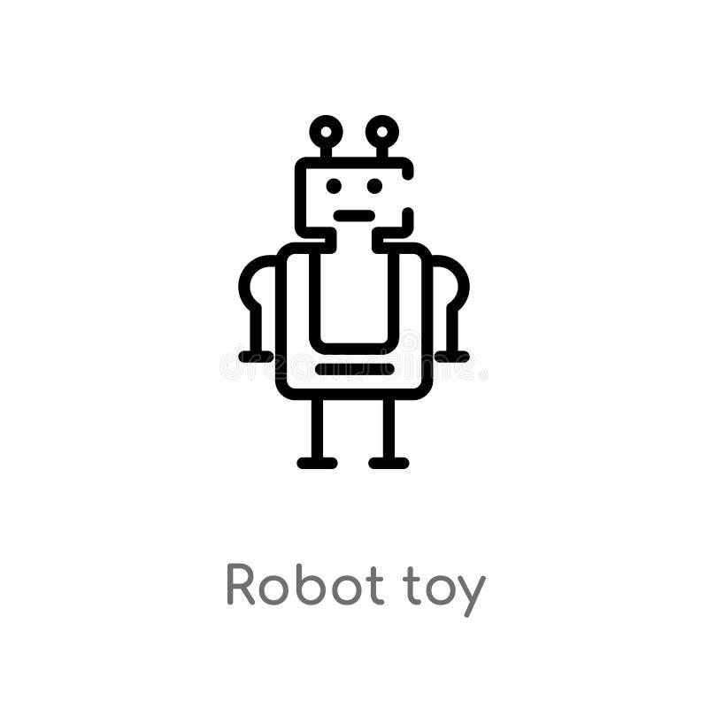 διανυσματικό εικονίδιο παιχνιδιών ρομπότ περιλήψεων απομονωμένη μαύρη απλή απεικόνιση στοιχείων γραμμών από την έννοια παιχνιδιών διανυσματική απεικόνιση