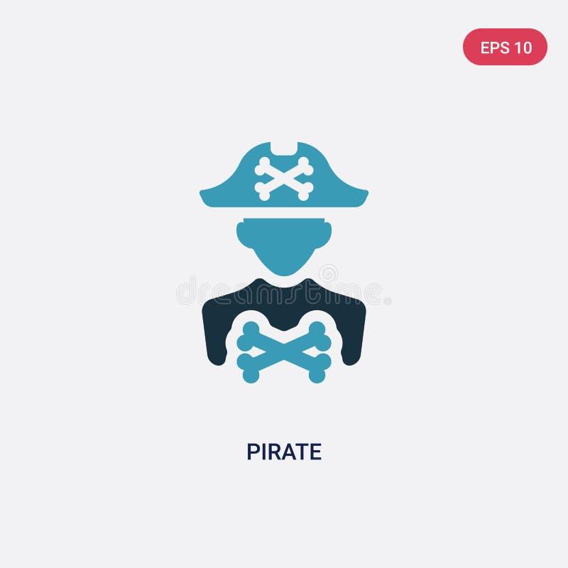Διανυσματικό εικονίδιο πειρατών δύο χρώματος από την έννοια επαγγελμάτων & εργασιών το απομονωμένο μπλε σύμβολο σημαδιών πειρατών διανυσματική απεικόνιση