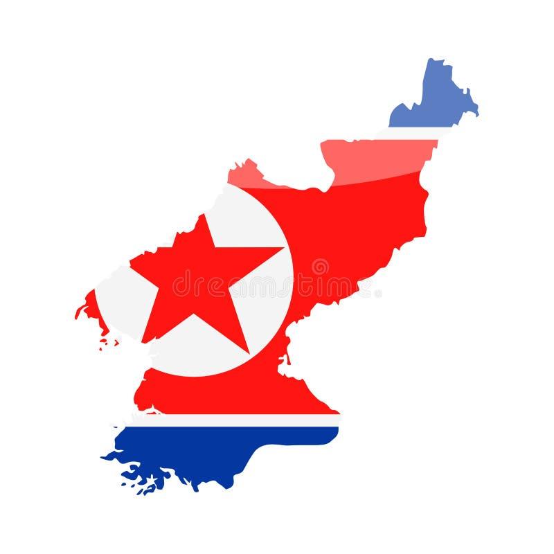 Διανυσματικό εικονίδιο περιγράμματος χώρας σημαιών Βόρεια Κορεών διανυσματική απεικόνιση