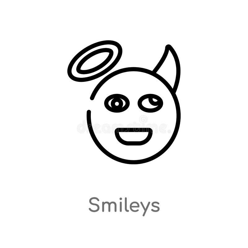 διανυσματικό εικονίδιο περιλήψεων smileys απομονωμένη μαύρη απλή απεικόνιση στοιχείων γραμμών από την έννοια ηθικής editable διαν απεικόνιση αποθεμάτων