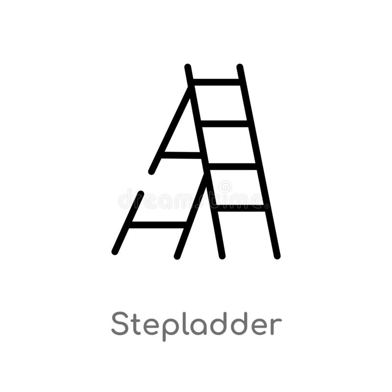 διανυσματικό εικονίδιο περιλήψεων stepladder απομονωμένη μαύρη απλή απεικόνιση στοιχείων γραμμών από τη γενική έννοια r διανυσματική απεικόνιση
