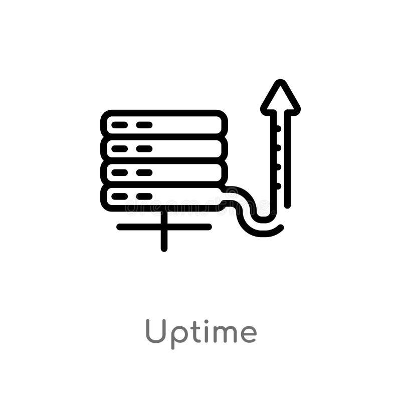 διανυσματικό εικονίδιο περιλήψεων uptime απομονωμένη μαύρη απλή απεικόνιση στοιχείων γραμμών από την έννοια φιλοξενίας Ιστού r διανυσματική απεικόνιση