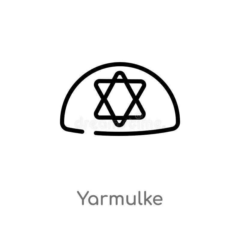 διανυσματικό εικονίδιο περιλήψεων yarmulke απομονωμένη μαύρη απλή απεικόνιση στοιχείων γραμμών από την έννοια θρησκεία-2 Διανυσμα διανυσματική απεικόνιση