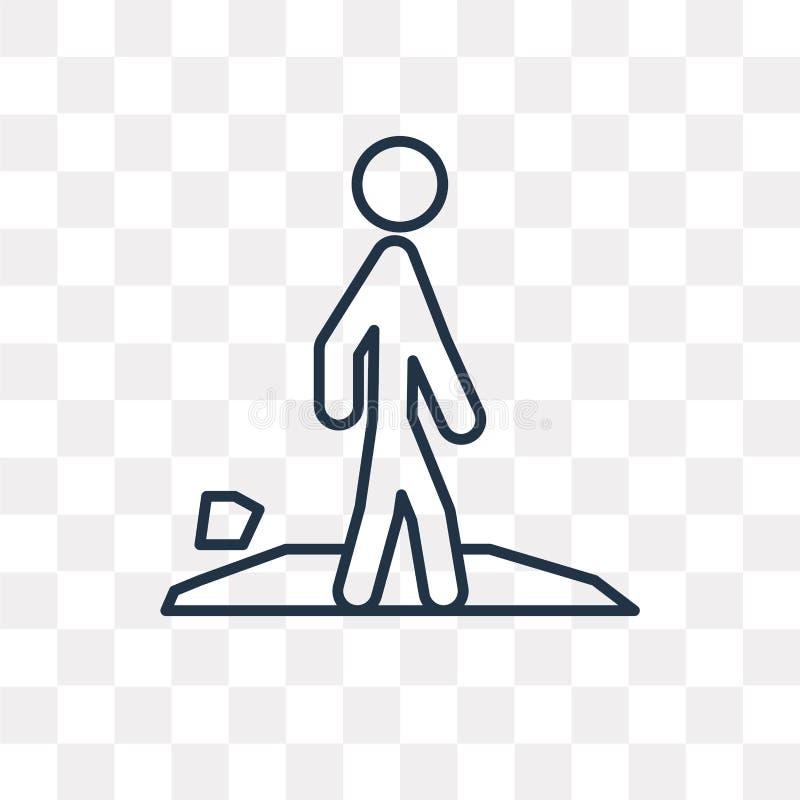 Διανυσματικό εικονίδιο περπατήματος που απομονώνεται στο διαφανές υπόβαθρο, γραμμικό W διανυσματική απεικόνιση