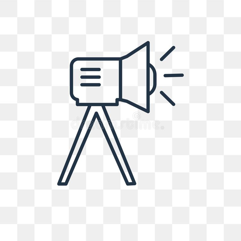 Διανυσματικό εικονίδιο πηγής φωτός κινηματογράφων που απομονώνεται στο διαφανές backgrou διανυσματική απεικόνιση