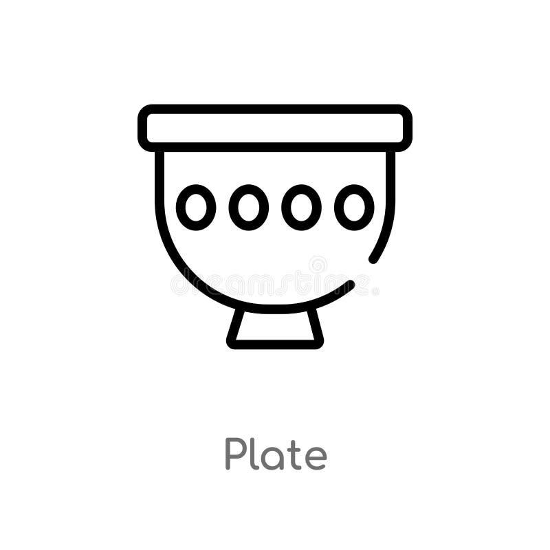 διανυσματικό εικονίδιο πιάτων περιλήψεων απομονωμένη μαύρη απλή απεικόνιση στοιχείων γραμμών από την έννοια εποχής του λίθου edit διανυσματική απεικόνιση