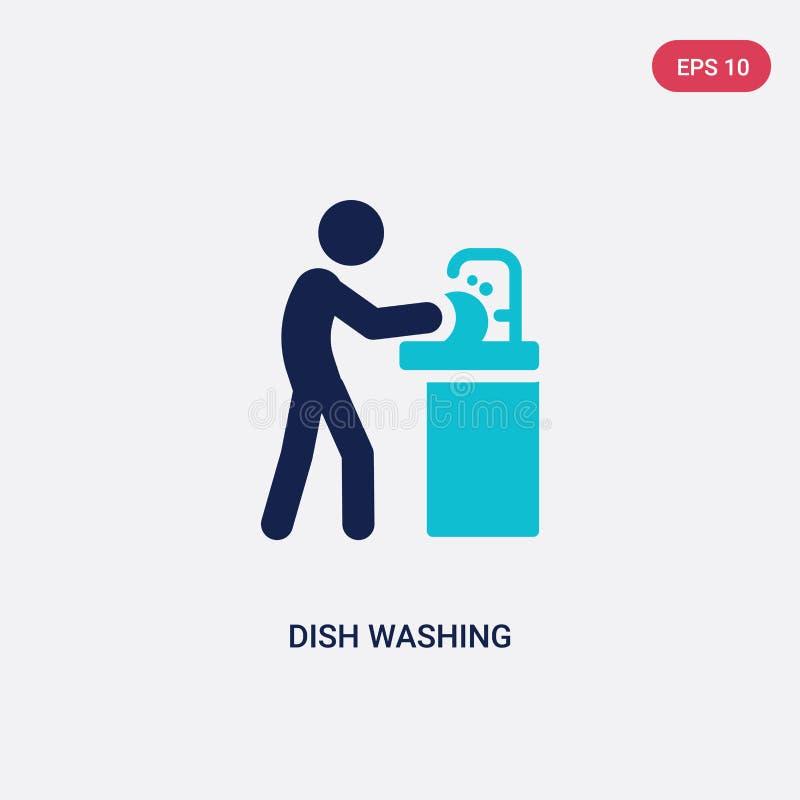 διανυσματικό εικονίδιο πλύσης πιάτων δύο χρώματος από τη δραστηριότητα και την έννοια χόμπι το απομονωμένο μπλε πιάτων σύμβολο ση απεικόνιση αποθεμάτων