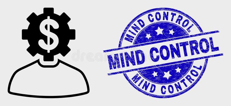 Διανυσματικό εικονίδιο προσώπων εργαλείων τραπεζιτών περιλήψεων και γραμματόσημο ελέγχου μυαλού κινδύνου απεικόνιση αποθεμάτων