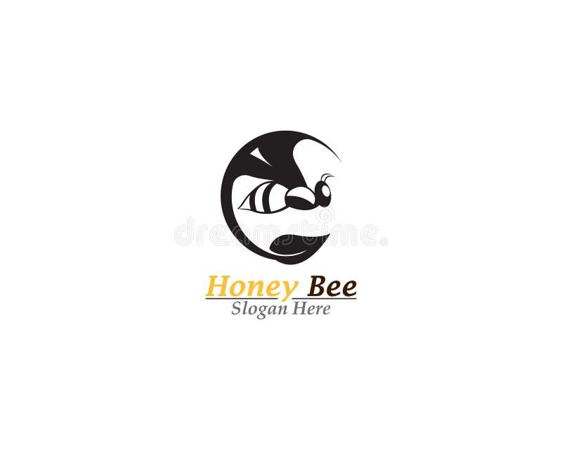 Διανυσματικό εικονίδιο προτύπων λογότυπων μελισσών μελιού ελεύθερη απεικόνιση δικαιώματος