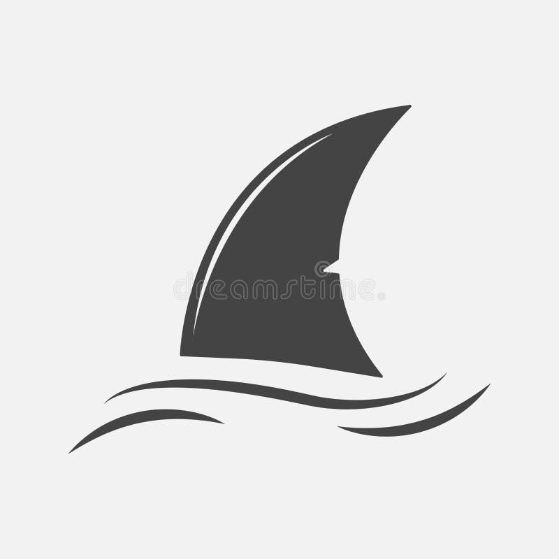 Διανυσματικό εικονίδιο πτερυγίων καρχαριών Πτερύγιο στο νερό Στρώματα που ομαδοποιούνται για εύκολο ελεύθερη απεικόνιση δικαιώματος