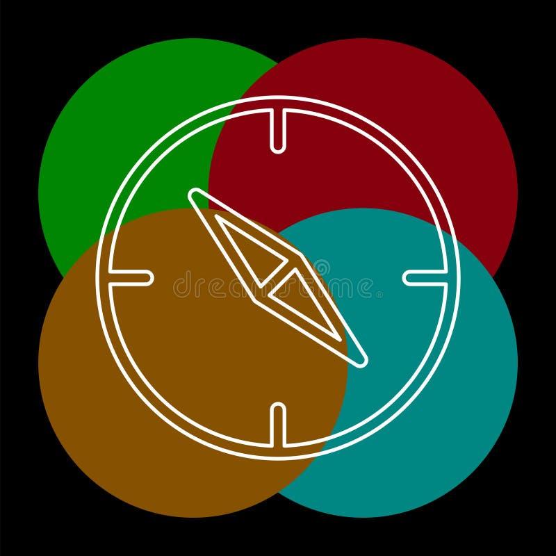 Διανυσματικό εικονίδιο πυξίδων - σύμβολο ναυσιπλοΐας - ταξίδι διανυσματική απεικόνιση