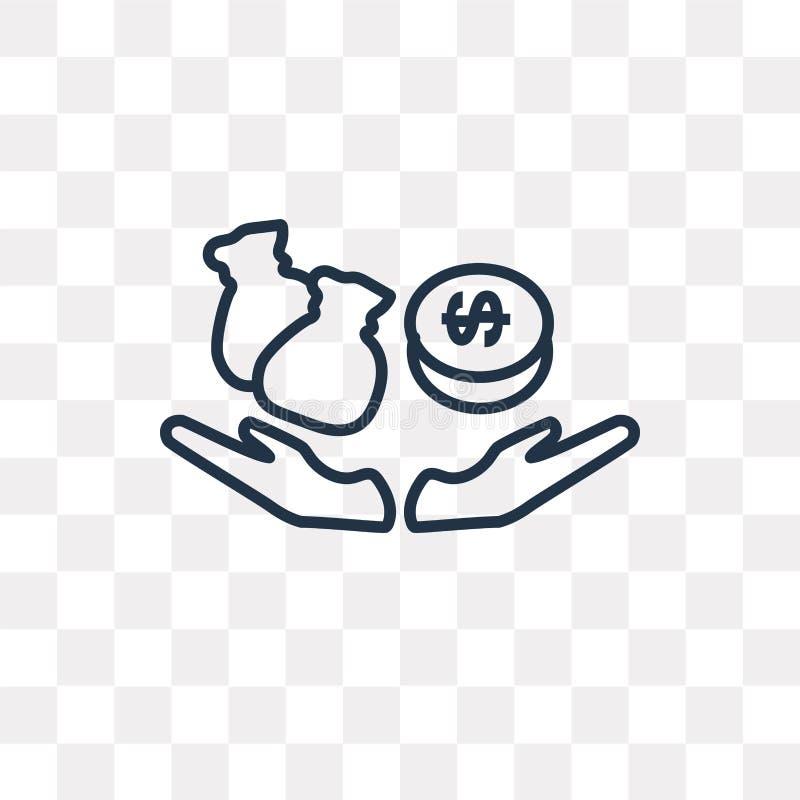 Διανυσματικό εικονίδιο πόρων χρηματοδότησης που απομονώνεται στο διαφανές υπόβαθρο, γραμμικό ελεύθερη απεικόνιση δικαιώματος