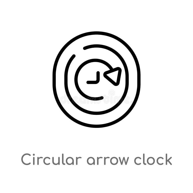 διανυσματικό εικονίδιο ρολογιών βελών περιλήψεων κυκλικό E editable ελεύθερη απεικόνιση δικαιώματος