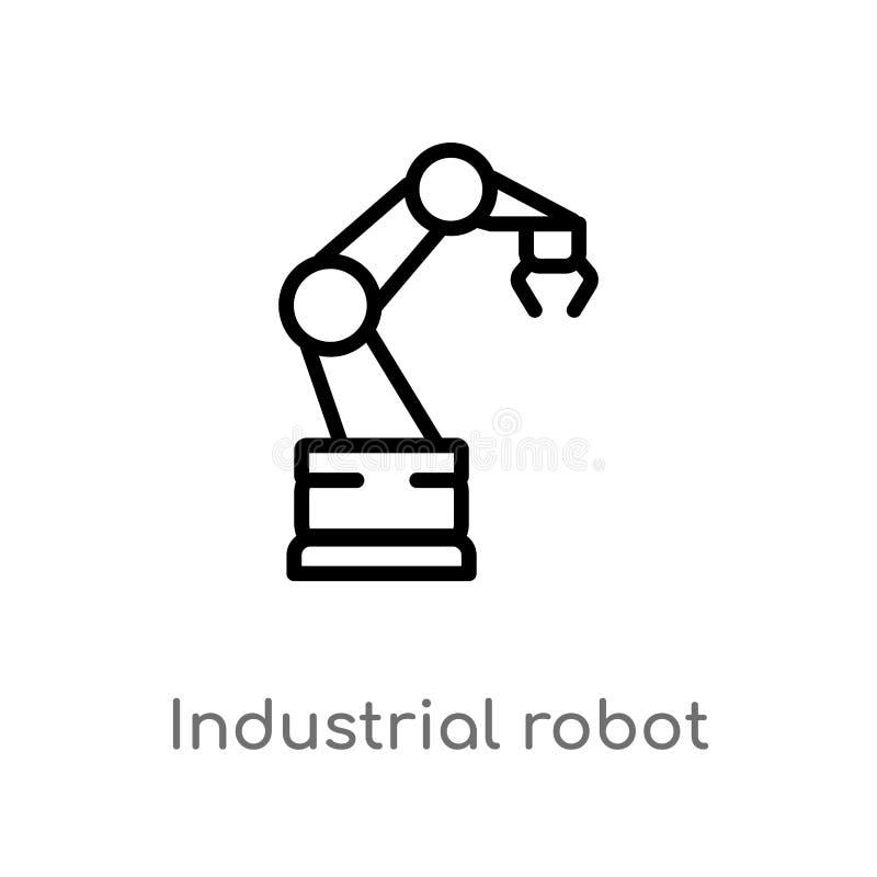 διανυσματικό εικονίδιο ρομπότ περιλήψεων βιομηχανικό απομονωμένη μαύρη απλή απεικόνιση στοιχείων γραμμών από την έννοια βιομηχανί διανυσματική απεικόνιση