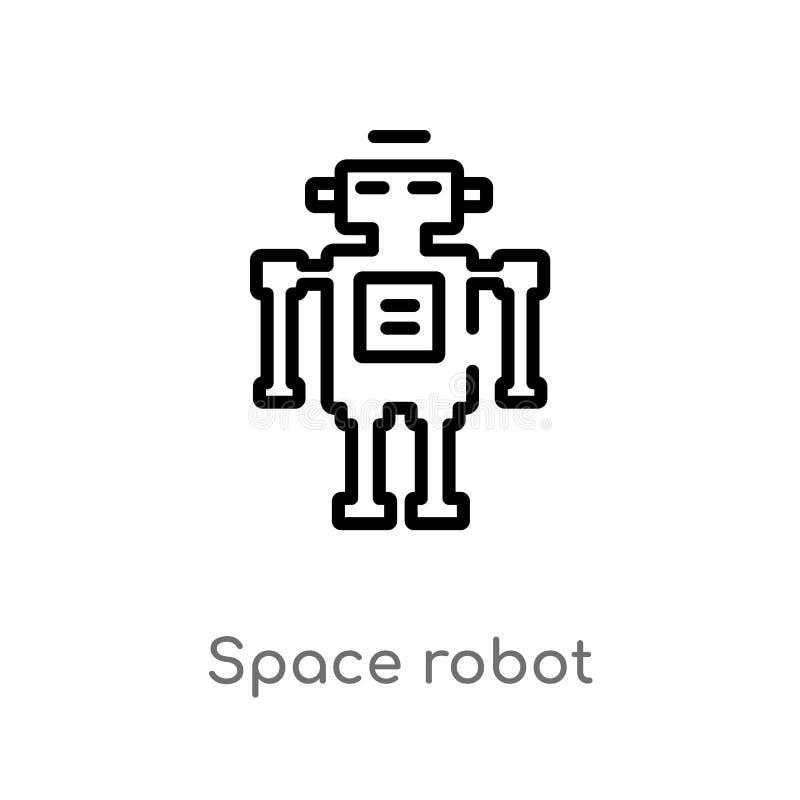 διανυσματικό εικονίδιο ρομπότ περιλήψεων διαστημικό απομονωμένη μαύρη απλή απεικόνιση στοιχείων γραμμών από την έννοια αστρονομία ελεύθερη απεικόνιση δικαιώματος