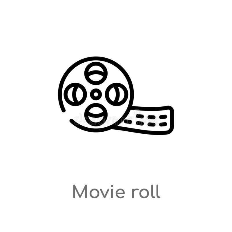 διανυσματικό εικονίδιο ρόλων κινηματογράφων περιλήψεων απομονωμένη μαύρη απλή απεικόνιση στοιχείων γραμμών από την έννοια κινηματ απεικόνιση αποθεμάτων