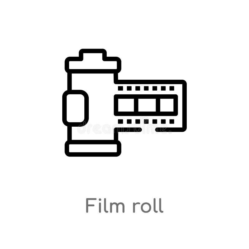 διανυσματικό εικονίδιο ρόλων ταινιών περιλήψεων η απομονωμένη μαύρη απλή απεικόνιση στοιχείων γραμμών από την ηλεκτρονική ουσία γ ελεύθερη απεικόνιση δικαιώματος