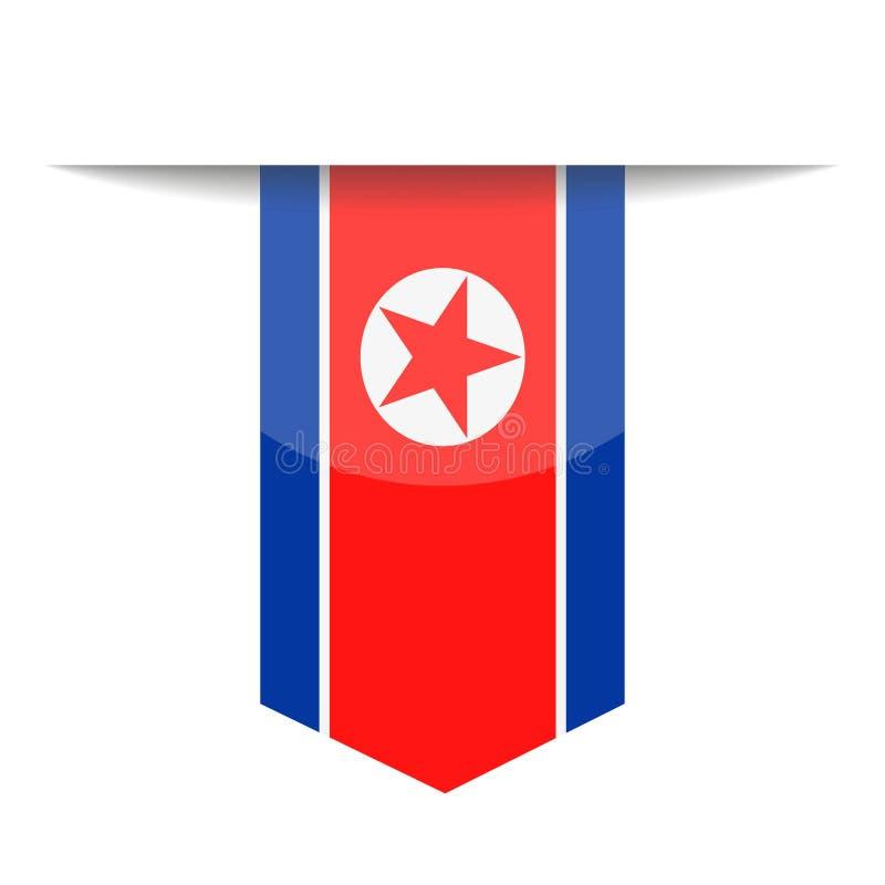 Διανυσματικό εικονίδιο σελιδοδεικτών σημαιών Βόρεια Κορεών απεικόνιση αποθεμάτων