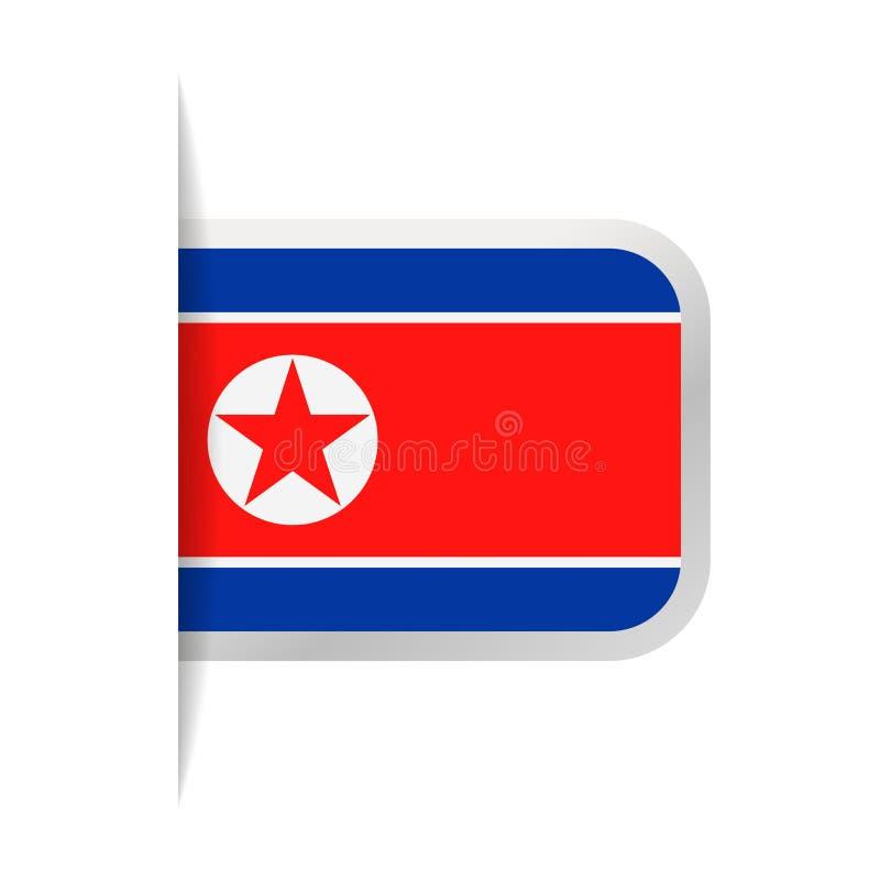 Διανυσματικό εικονίδιο σελιδοδεικτών σημαιών Βόρεια Κορεών διανυσματική απεικόνιση