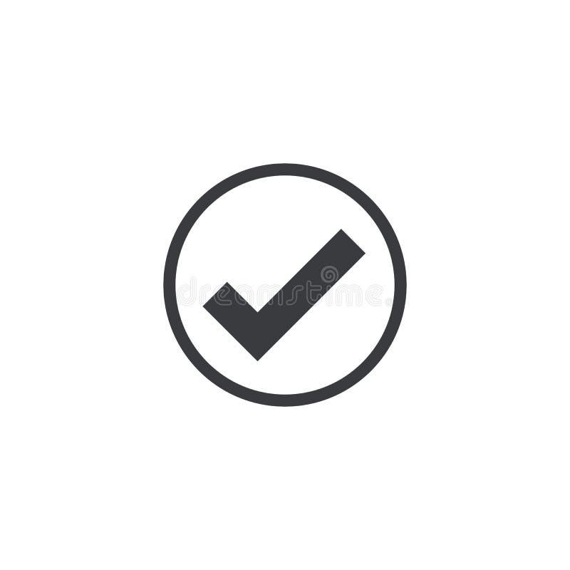 Διανυσματικό εικονίδιο σημαδιών ελέγχου που απομονώνεται εγκρίνετε το σύμβολο Στοιχείο για app λογότυπων σχεδίου την κινητή κάρτα απεικόνιση αποθεμάτων