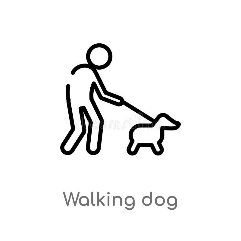 διανυσματικό εικονίδιο σκυλιών περπατήματος περιλήψεων απομονωμένη μαύρη απλή απεικόνιση στοιχείων γραμμών από την έννοια ζώων Δι απεικόνιση αποθεμάτων