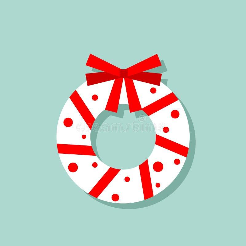 Διανυσματικό εικονίδιο στεφανιών Χριστουγέννων στα κόκκινα και άσπρα χρώματα Νέο σχέδιο καρτών έτους στοκ εικόνες
