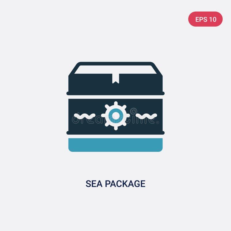 Διανυσματικό εικονίδιο συσκευασίας θάλασσας δύο χρώματος από τη ναυτική έννοια το απομονωμένο μπλε θάλασσας σύμβολο σημαδιών συσκ ελεύθερη απεικόνιση δικαιώματος