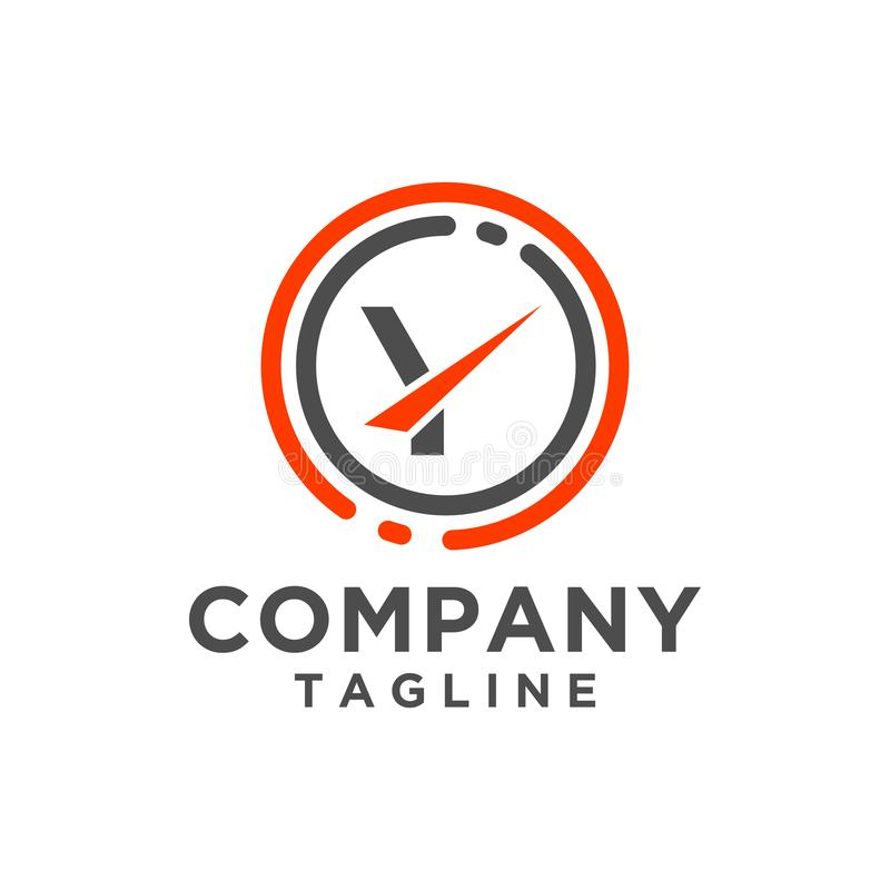 Διανυσματικό εικονίδιο σχεδίου λογότυπων επιστολών με τη γραμμή κύκλων Μινιμαλιστικό ύφος διανυσματική απεικόνιση
