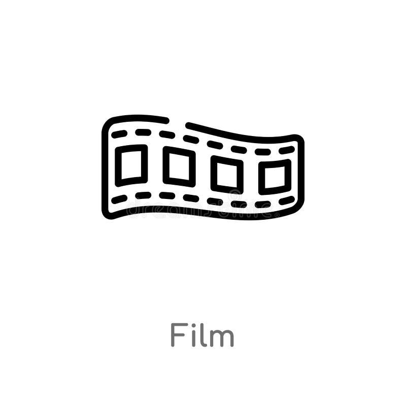 διανυσματικό εικονίδιο ταινιών περιλήψεων απομονωμένη μαύρη απλή απεικόνιση στοιχείων γραμμών από την έννοια κινηματογράφων edita διανυσματική απεικόνιση