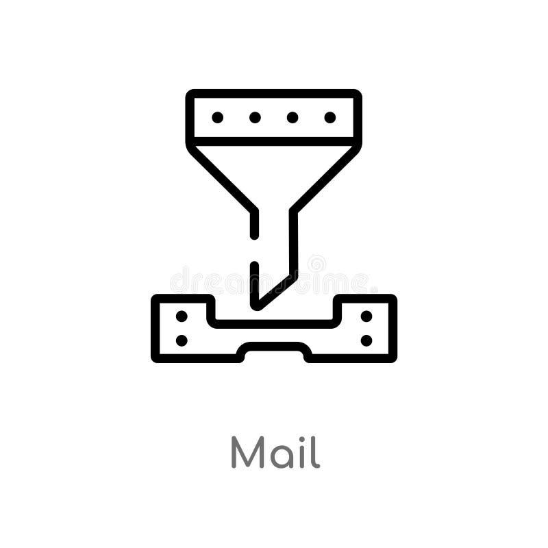 διανυσματικό εικονίδιο ταχυδρομείου περιλήψεων απομονωμένη μαύρη απλή απεικόνιση στοιχείων γραμμών από την έννοια τεχνητής νοημοσ ελεύθερη απεικόνιση δικαιώματος