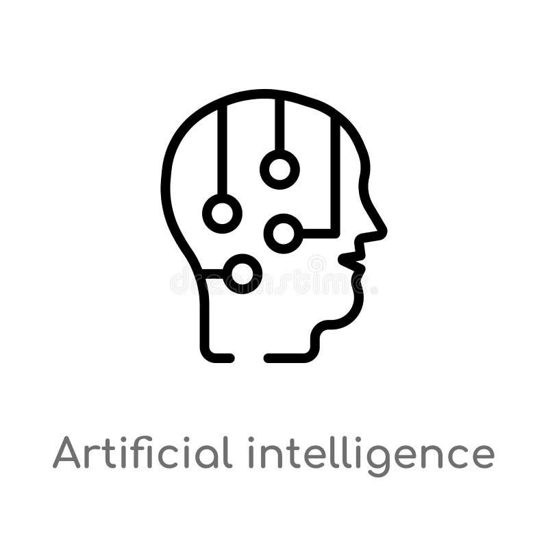 διανυσματικό εικονίδιο τεχνητής νοημοσύνης περιλήψεων απομονωμένη μαύρη απλή απεικόνιση στοιχείων γραμμών από την έννοια r απεικόνιση αποθεμάτων