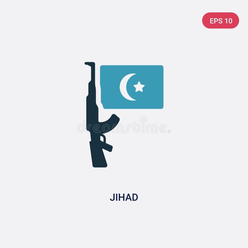 Διανυσματικό εικονίδιο τζιχάντ δύο χρώματος από την έννοια θρησκείας το απομονωμένο μπλε σύμβολο σημαδιών τζιχάντ διανυσματικό μπ διανυσματική απεικόνιση