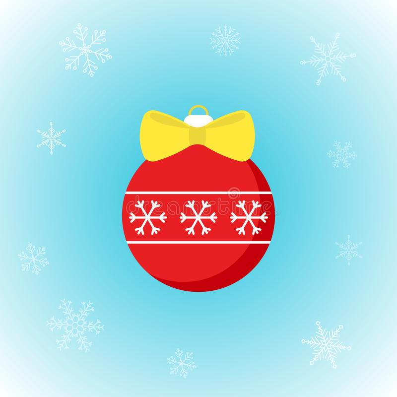 Διανυσματικό εικονίδιο της σφαίρας Χριστουγέννων στο επίπεδο ύφος με snowflakes στο χειμερινό υπόβαθρο απεικόνιση αποθεμάτων