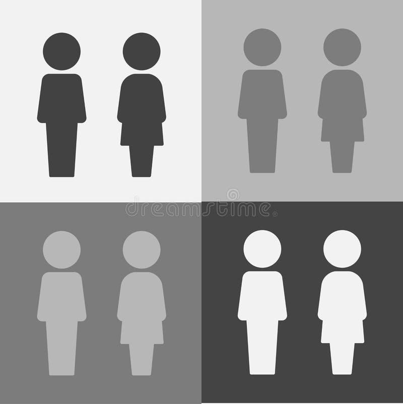 Διανυσματικό εικονίδιο της τουαλέτας και του λουτρού Πιάτο στο WC πορτών διανυσματική απεικόνιση