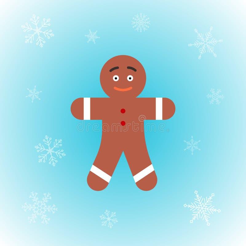 Διανυσματικό εικονίδιο του ατόμου μελοψωμάτων Χριστουγέννων στο επίπεδο ύφος στο χειμερινό υπόβαθρο απεικόνιση αποθεμάτων