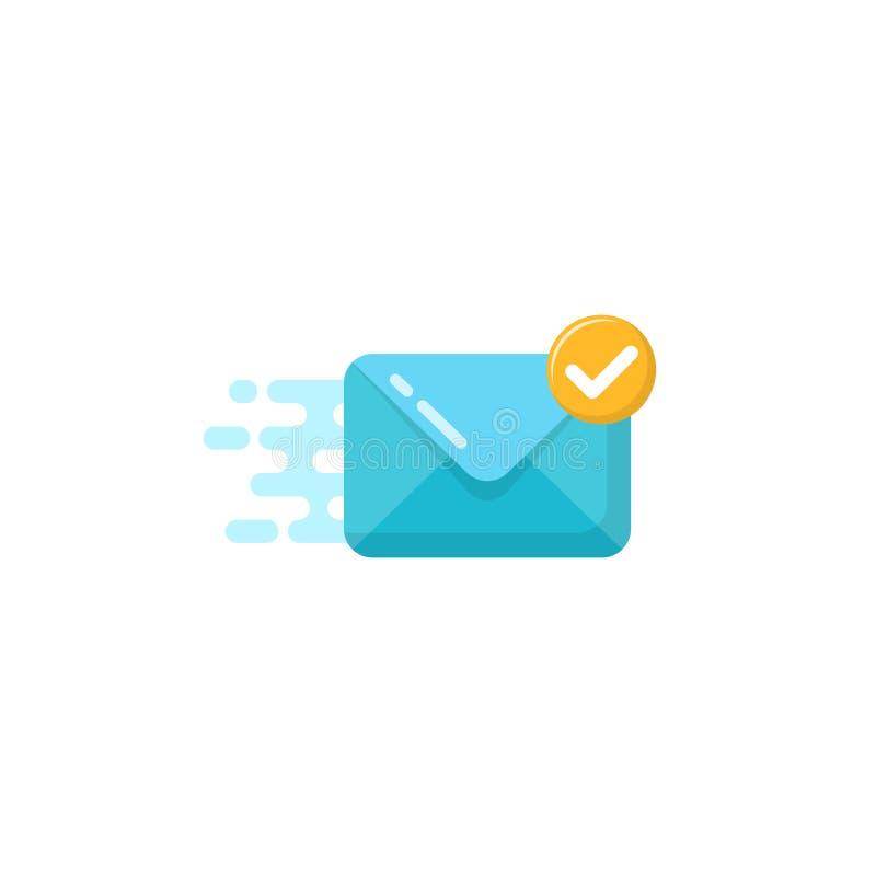 διανυσματικό εικονίδιο του μηνύματος σταλμένος επιτυχώς απλά επίπεδα διανυσματικά ταχυδρομείο σχεδίου και σύμβολο μηνυμάτων ελεύθερη απεικόνιση δικαιώματος