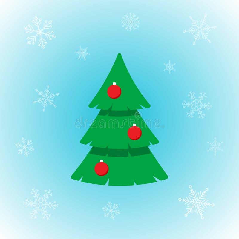 Διανυσματικό εικονίδιο του χριστουγεννιάτικου δέντρου στο επίπεδο ύφος με snowflakes στο χειμερινό υπόβαθρο διανυσματική απεικόνιση