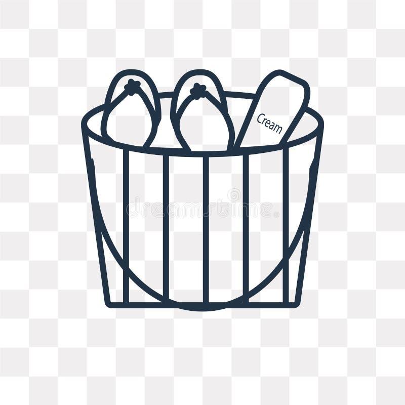 Διανυσματικό εικονίδιο τσαντών παραλιών που απομονώνεται στο διαφανές υπόβαθρο, γραμμικό απεικόνιση αποθεμάτων