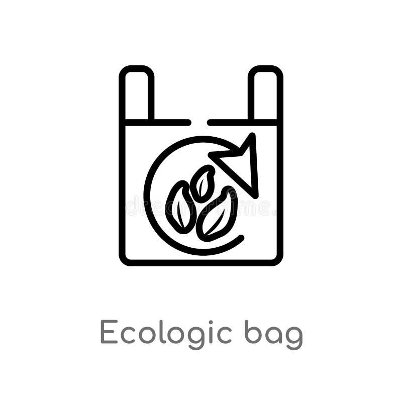 διανυσματικό εικονίδιο τσαντών περιλήψεων ecologic απομονωμένη μαύρη απλή απεικόνιση στοιχείων γραμμών από την έννοια οικολογίας  ελεύθερη απεικόνιση δικαιώματος