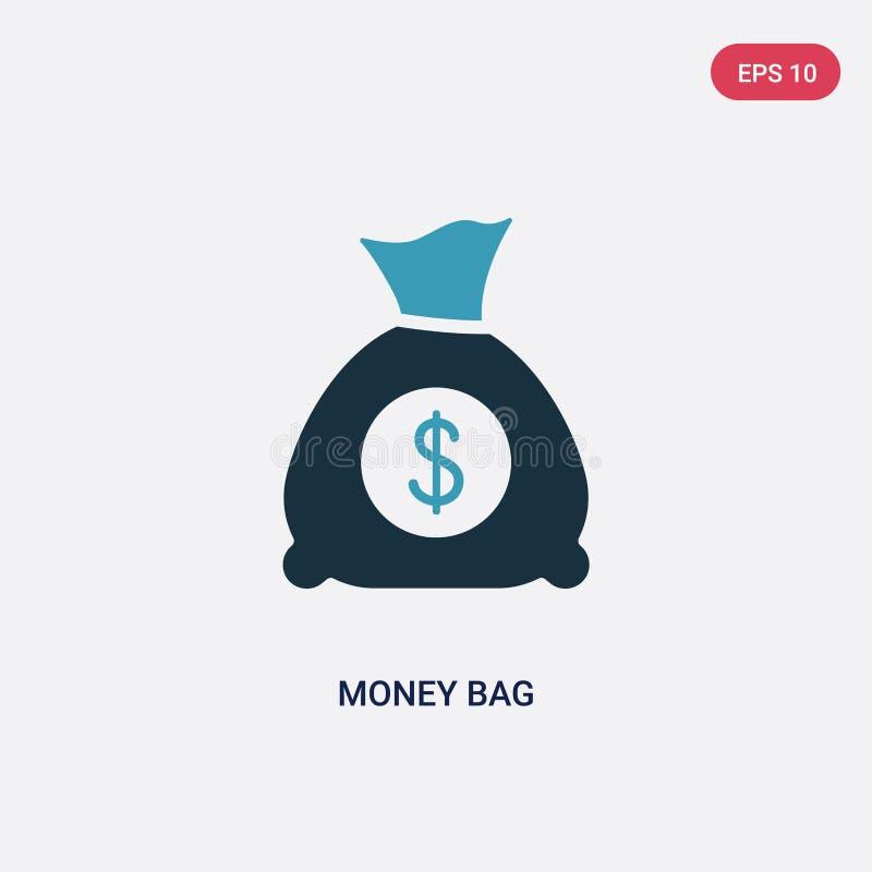 Διανυσματικό εικονίδιο τσαντών χρημάτων δύο χρώματος από την έννοια στρατηγικής το απομονωμένο μπλε χρημάτων σύμβολο σημαδιών τσα διανυσματική απεικόνιση