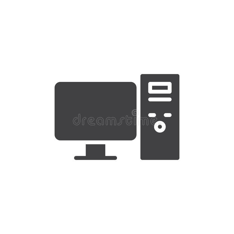 Διανυσματικό εικονίδιο υπολογιστών γραφείου διανυσματική απεικόνιση