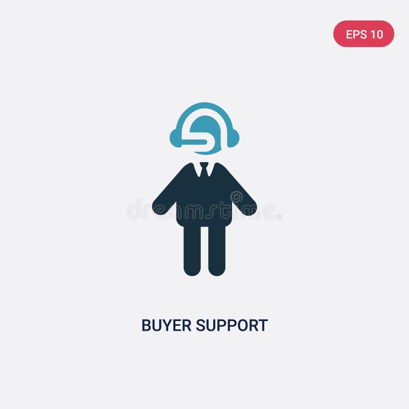 Διανυσματικό εικονίδιο υποστήριξης αγοραστών δύο χρώματος από την έννοια ανθρώπων το απομονωμένο μπλε αγοραστών σύμβολο σημαδιών  διανυσματική απεικόνιση