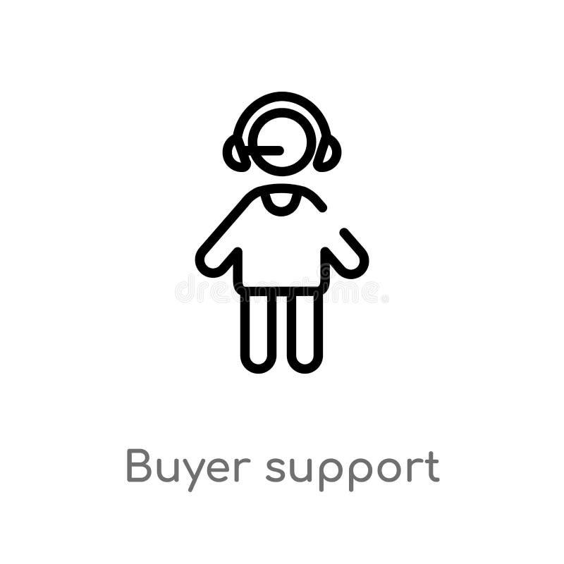 διανυσματικό εικονίδιο υποστήριξης αγοραστών περιλήψεων απομονωμένη μαύρη απλή απεικόνιση στοιχείων γραμμών από την έννοια ανθρώπ ελεύθερη απεικόνιση δικαιώματος