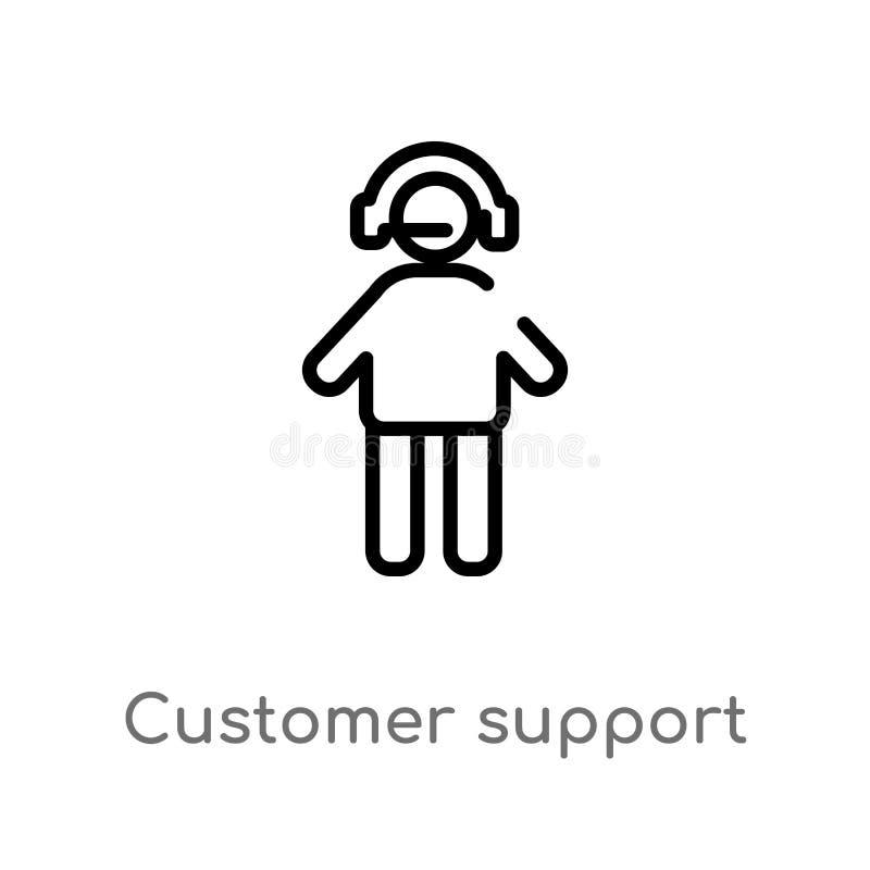 διανυσματικό εικονίδιο υποστήριξης πελατών περιλήψεων απομονωμένη μαύρη απλή απεικόνιση στοιχείων γραμμών από την έννοια συσκευασ διανυσματική απεικόνιση