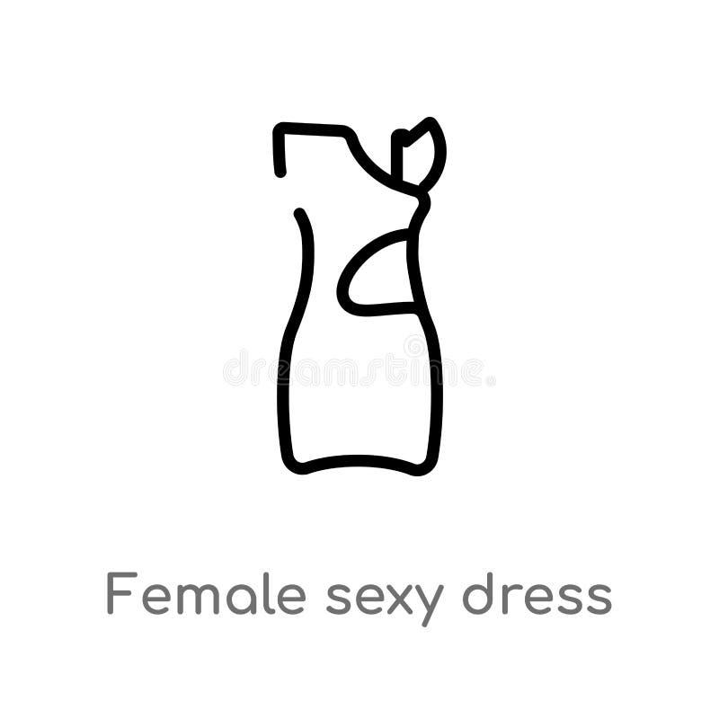 διανυσματικό εικονίδιο φορεμάτων περιλήψεων θηλυκό προκλητικό απομονωμένη μαύρη απλή απεικόνιση στοιχείων γραμμών από την έννοια  διανυσματική απεικόνιση