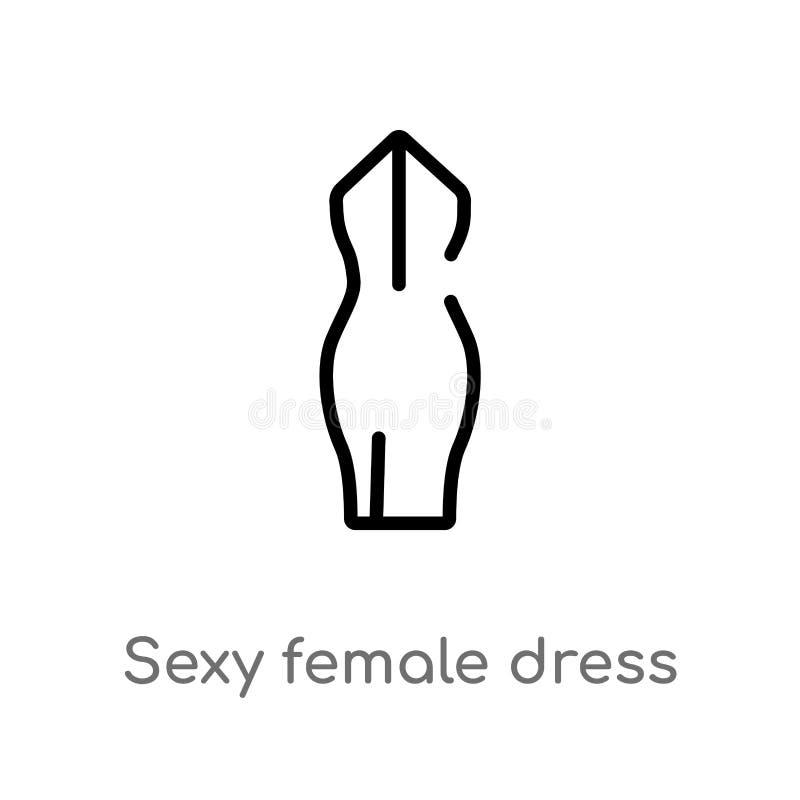 διανυσματικό εικονίδιο φορεμάτων περιλήψεων προκλητικό θηλυκό απομονωμένη μαύρη απλή απεικόνιση στοιχείων γραμμών από την έννοια  απεικόνιση αποθεμάτων